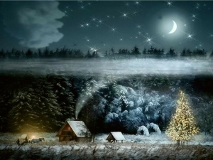 fantasy christmas trees horses new year house happy new year cottage 1280x1024 wallpaper_wallpaperswa.com_83